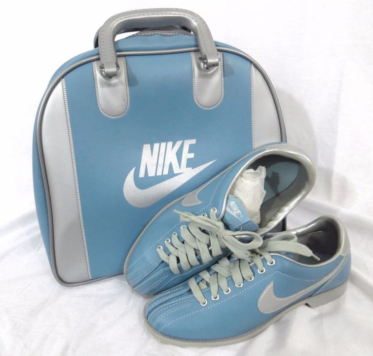 Nike Women's Bowling Shoes 10 Vintage 1980's Blue Metallic Swoosh Ball Bag Set #NIKE