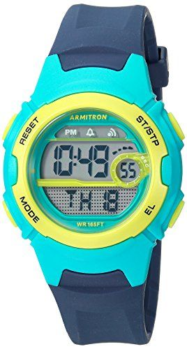 Armitron Sport Women's 45/7088NVY Teal and Lime Green Accented Digital Chronograph Navy Blue Resin Strap Watch  Metallic teal resin case with metallic lime green top ring; lcd display with time, seconds day and date; navy blue resin strap with buckle closure  Functions include: chronograph, alarm, hourly chime, countdown timer, military time and backlight with three second delay  Quartz Movement  Case Diameter: 33.5mm  Water resistant to 50m (165ft:in general, suitable for short perio...