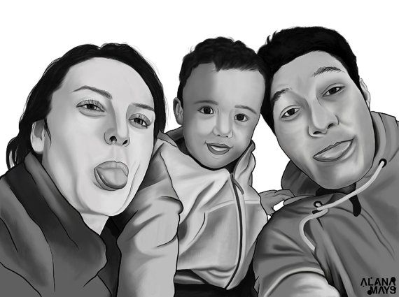Comissioned digital portrait by AlanaMaysCreations on Etsy, family portrait, custom made art, personalized art, black and white portraiture, kids art, digital art, realistic art, etsy business