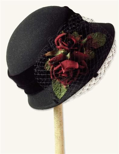 PORTWINE ROSES WOOL CLOCHE at Victorian Trading Co.  $69.95