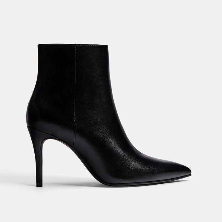 Bershka Black Leather Pointed Toe Booties
