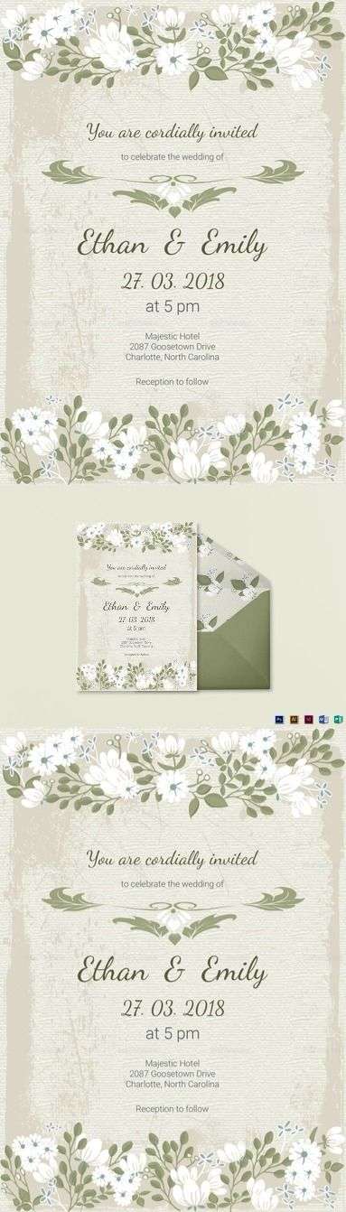 Vintage Wedding Invitation Card Template-$15 - Formats Included :Illustrator, InDesign, MS Word, Photoshop, Publisher