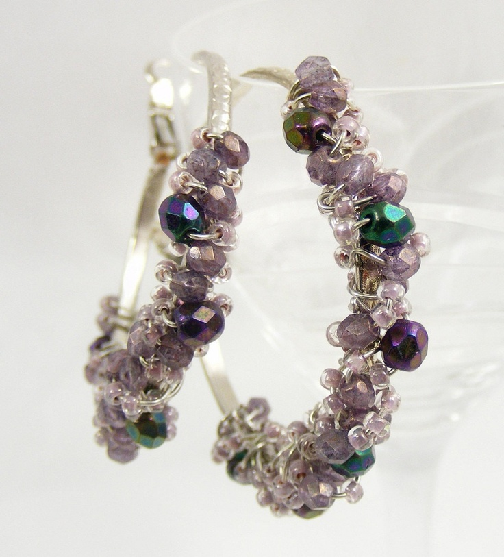 Beaded Wire Wrapped Hoop EarringsEveryday Earrings, Beads Handmade, Wire Earrings, Hoop Earrings, Wirework, Earrings Purple, Beads Wire, Beads Chat, Purple Hoop