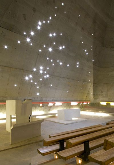 Le Corbusier uses natural light to create this beautiful effect in this church he designed in 2006. Saint-Pierre De Firminy.