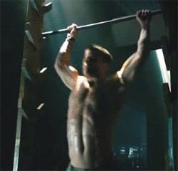 Oliver Queen on the Salmon Ladder in Arrow - I didn't even know that this was a thing... Apparently, Stephen Amell does as part of his workout, so they used it for the show. It's kind of amazing to watch!