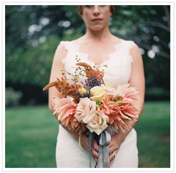 shades of pink and peach bouquet