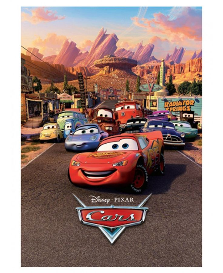 Create an instant feature in any room with this stunning Disney Cars Photo Wall Mural! The mural features Lightning McQueen and friends in Radiator Springs and is a unique and contemporary way to give a room a Cars theme.