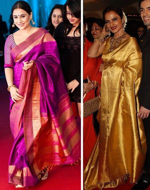 Gorgeous kanjeevarams as seen on our Indian actresses. The fall and grace of a silk sari is nothing in comparison to a bling-bling designer one. Gift your mom a precious pure zari sari. Consult us on where to buy it in India. A personal shopper & stylist for weddings in India - Bridelan, visit our website www.bridelan.com #Bridelan