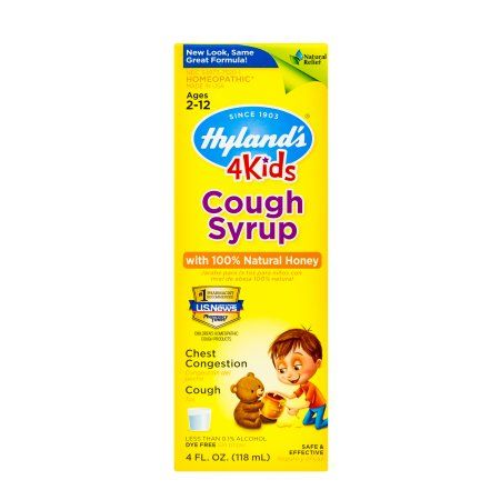 Hyland's 4 Kids Cough Syrup w/100% Natural Honey, Natural Relief of Cough and Chest Congestion, 4 Ounces, Multicolor
