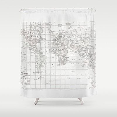 map shower curtain white on white world map shower curtain historical map 13310
