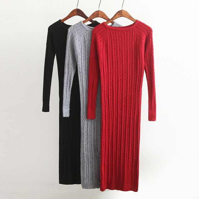 Новый Поворот Женщины длинный свитер платье 2016 весна sexy тонкий Bodycon Платья Эластичный Тощий Сплит Платье Краткая Трикотажное Платье vestidos