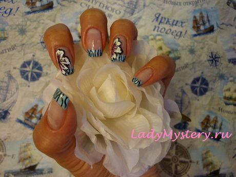 Французский маникюр с цветком в стиле зебра. Вам нравится французский маникюр, но не просто, а необычный, с цветочком? Давайте я вас удивлю.  Автор: Творческая Анна  Дизайн ногтей, нейл-арт, необычный рисунок, креативный французский маникюр, нейл-арт, дизайн ногтей, ногти, ноготки, nail art, nails, nail ideas