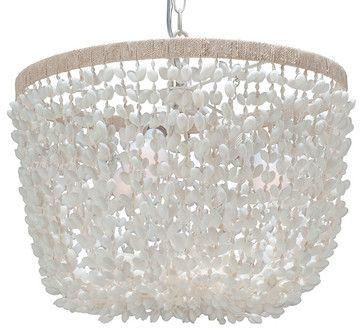 Inverted Pendant Lamp in Bubble Seashell, White - beach style - chandeliers - KOUBOO