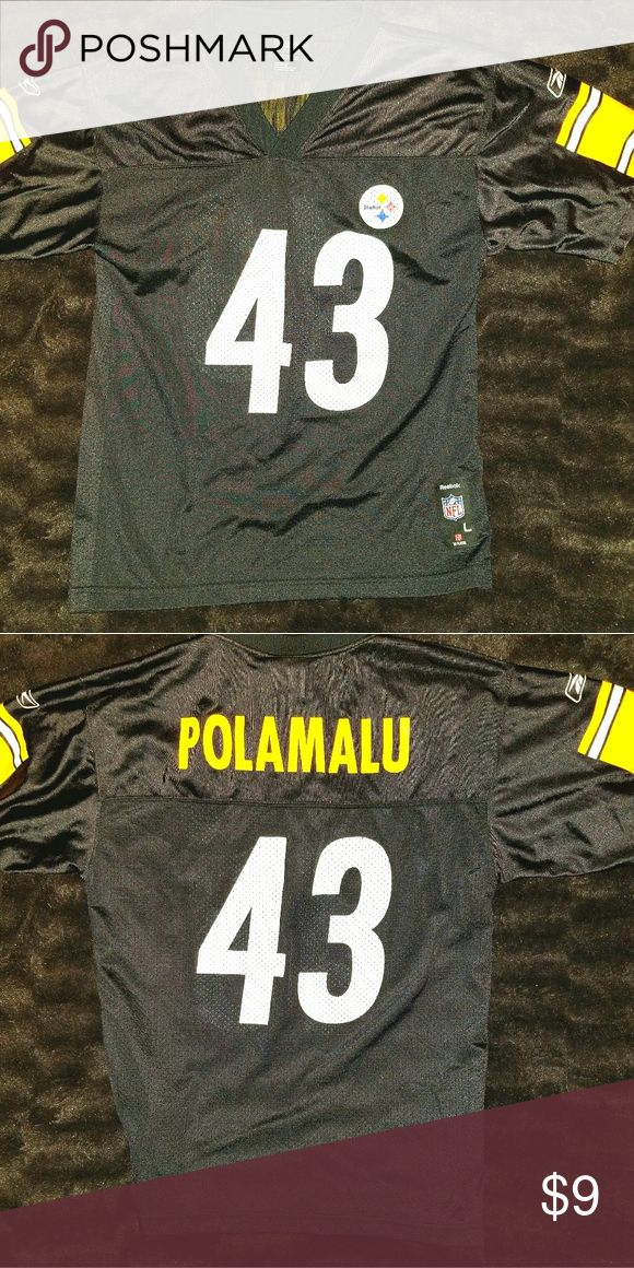 PITTSBURGH STEELERS #43 Troy Polamalu Jersey This is a youth large (size 14-16) football jersey #43 Troy Polamalu for the Pittsburgh Steelers by Reebok. The chest measures 18 inches and the length is 25 inches. Reebok Shirts & Tops