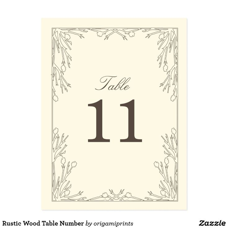 Rustic Wood Table Number Postcard Elegant vintage portrait inspired ivory and brown design by Shelby Allison. Perfect for a rustic wedding! For matching invitations, reply cards, stickers and other items click on the link below to view the entire Forever & Always collection.