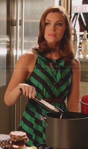 AnnaBeth's green and black striped dress on Hart of Dixie.  Outfit Details: http://wornontv.net/22857/ #HartofDixie