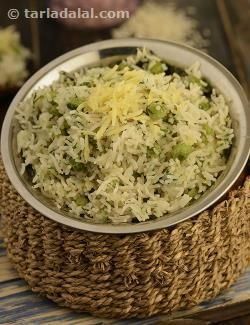 Cheese, onion and green peas' pulao, quickly prepared, quickly eaten – a nutritious, delicious pulao that combines kiddie favourite cheese with the right balance of mild spices.