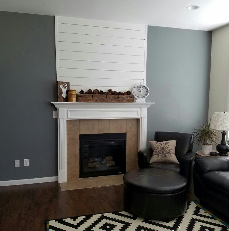 Shiplap fireplace with Sherwin Williams Cityscape