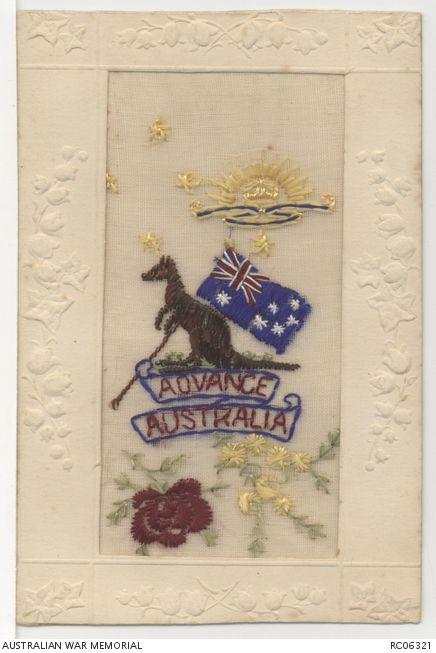 RC06321 An Australian example of the beautiful hand embroidered silk postcards made in the First World War