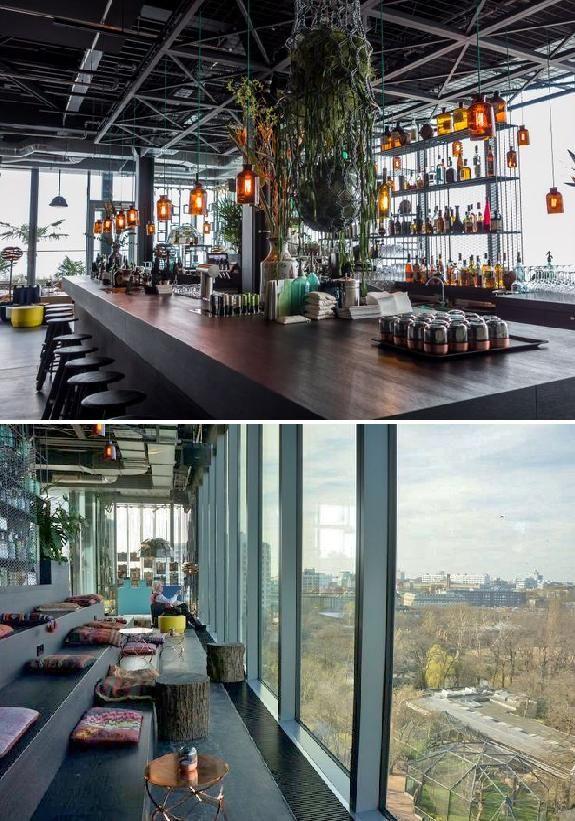 Monkey Bar im Hotel 25hours Bikini Berlin mit Ausblick von der Terrasse Richtung Kudamm oder von oben in der Zoologischen Garten.