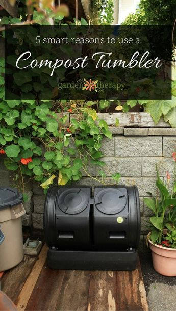 Five reasons to use a compost tumbler in your home garden to make healthy compost soil food quickly from kitchen and yard waste.