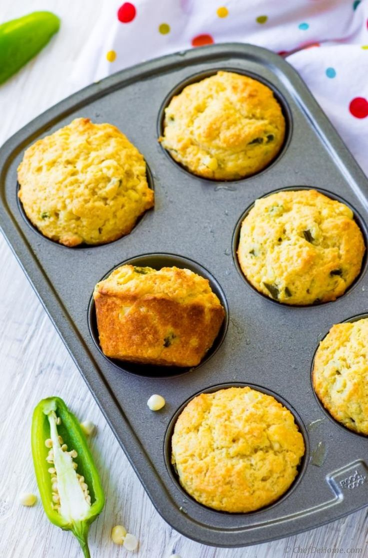 Homemade moist Jalapeno #Cornbread #Muffins to dunk in your favoirte bowl of soup! #tgif