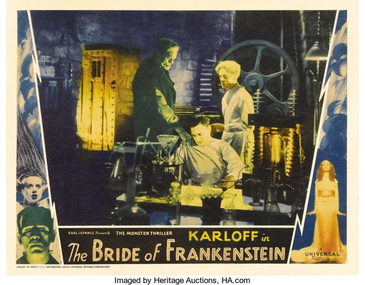 The Bride of Frankenstein (Universal, 1935). Lobby Card. Boris Karloff, as the Frankenstein monster, appears in this classic lab scene with Colin Clive as Dr. Frankenstein and Ernest Thesiger as Dr. Pretorius. James Whale's classic Universal horror film is considered by many to be the greatest of all the Frankenstein pictures making paper from this gem highly sought after. This is one of the best scenes depicted in the lobby card set. Sold at auction for $10,755.00