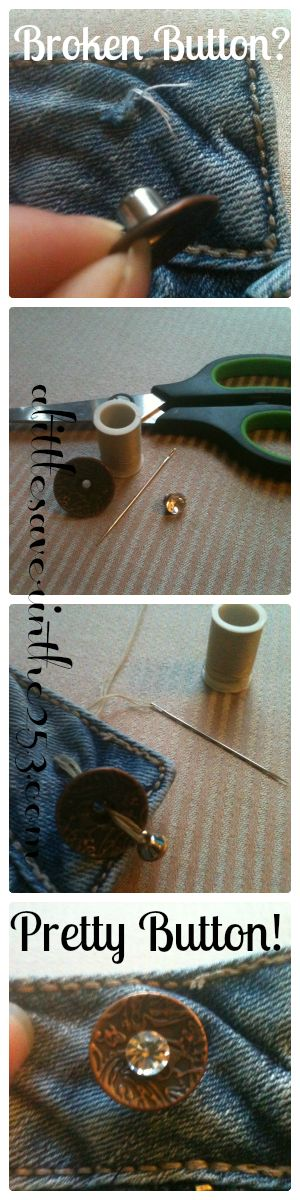 Resewing a button on jeans - and making it prettier.: Good To Know, Great Idea, Buttons Riveter, Broken Buttons, Jeans Buttons Brad, Crafts Sewing, Diy'S Help, Fixing Refashion Clothing, Broken Jeans