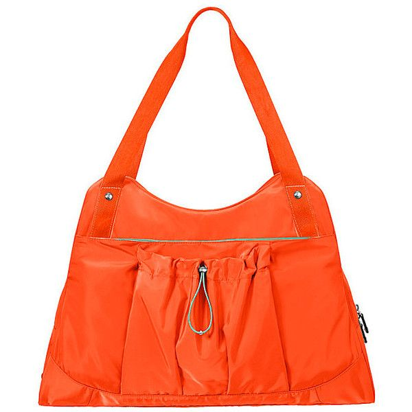Baggallini Motivate Yoga Tote ($108) ❤ liked on Polyvore featuring bags, handbags, tote bags, orange, tote handbags, nylon tote, tote purses, orange tote and nylon purse