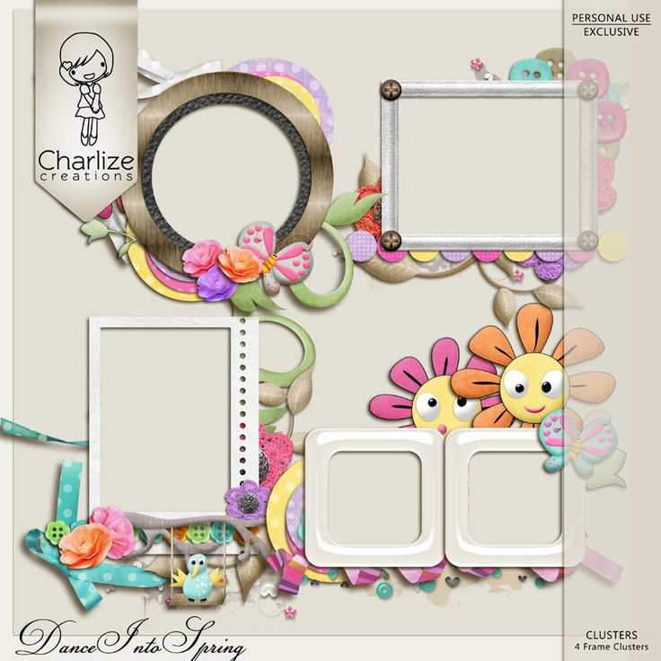 Oscraps :: Shop by Designer :: Charlize Creations :: Dance Into Spring Frame Clusters