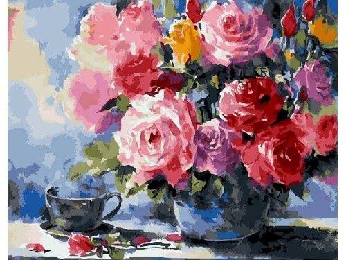 Картина по номерам «Розы» Танакорна Чаиджинды