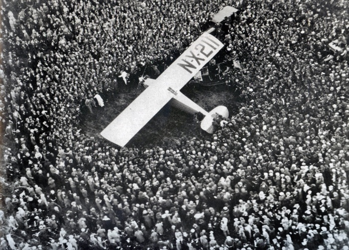 Lindberg Lands in Paris, 1927 - the first pilot to complete a non stop solo flight across the Atlantic to Paris, France.