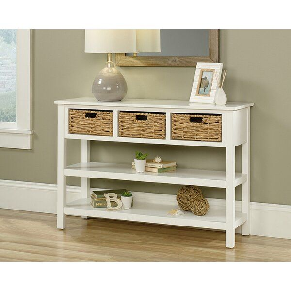 Wicker Baskets Storage, White Console Table With Storage Baskets