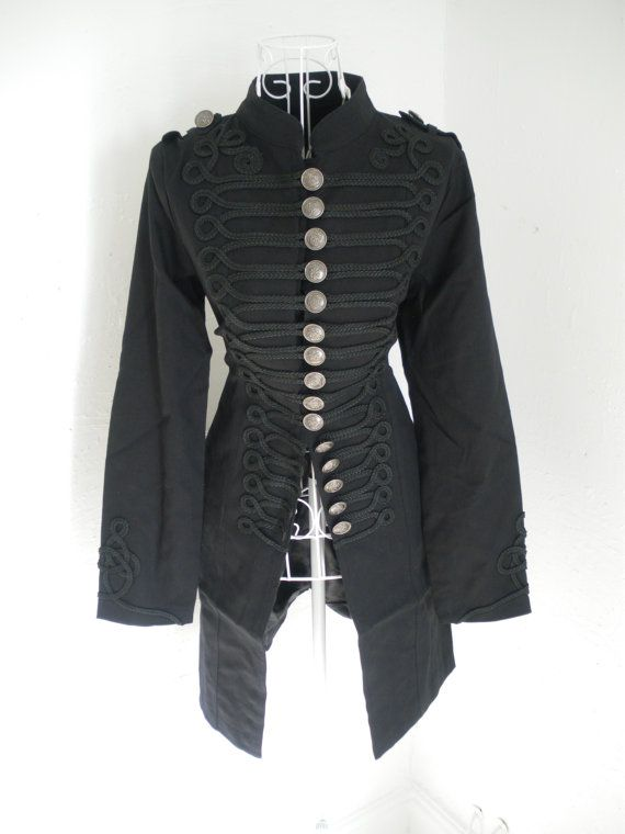 Vintage 1980s Gothic Military Napoleon jacket Steampunk Russian Renaissance  Victorian black frock coat