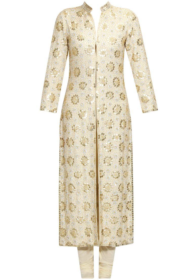 Beige floral pattern sequins embroidered straight kurta set available only at Pernia's Pop Up Shop.#perniaspopupshop #shopnow #anushkakhanna#partyseason #happyshopping #designer #clothing #festive #weddings