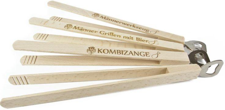 Würstchenzange Buchenholz Lasergravur Kombizange Werbeartikel | Holz Frank - Großhandel