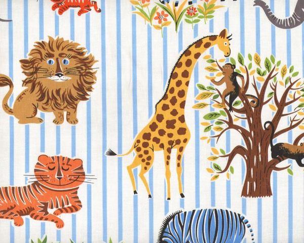 """Patchworkstoff+\""""Zoologie\""""+mit+Elefant,+Giraffe,+Tiger+und+co.,+hellbraun-orange-hellblau-weiß"""