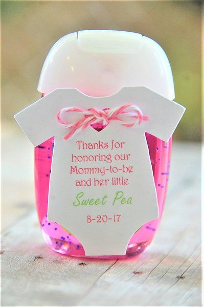 "*Baby MINI 2"" Onesie ~ Tag Only ~ Thanks for honoring our Mommy-to-be and her little Sweet Pea ~ baby shower ~ hand sanitizer thank you ~ onesie gift tags ~ 10 tags"