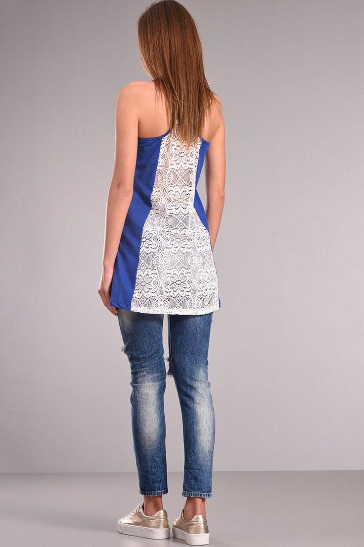 Μπλούζα με δαντέλα πίσω μπλε #joy #style #fashion