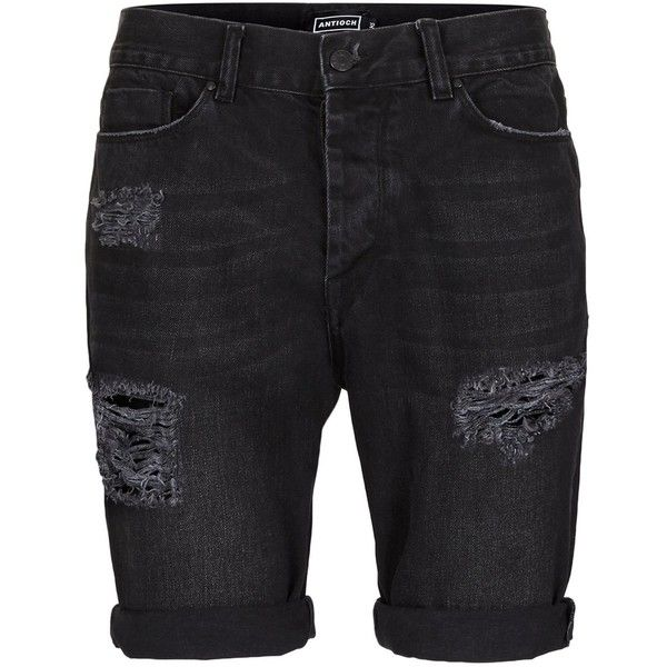 TOPMAN Antioch Black Distressed Slim Denim Shorts ($49) ❤ liked on Polyvore featuring men's fashion, men's clothing, men's shorts, black, mens denim shorts, mens ripped shorts, mens ripped denim shorts, mens distressed denim shorts and mens jean shorts
