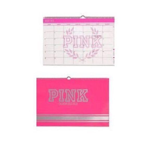 """VS Pink dorm desk calendar New never used 2015-16 desk calendar 18.5"""" L Paper PINK Victoria's Secret Other"""