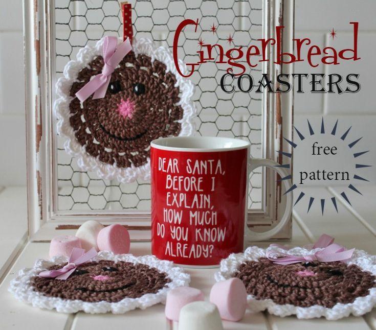 Threadbare Creations- {Free Crochet Pattern} Gingerbread Coasters