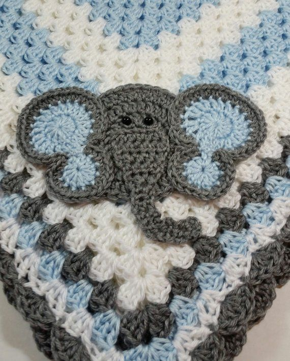 Elephant With Light Blue Ears Baby Blanket Crocheted