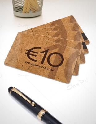 10 Euro Gutscheinkarte, Plastikkarte mit Magnetstreifen, Mino Paper, PK-FP-0002A | Gutscheine | Plastikkarten | Werbedesigns | Despri