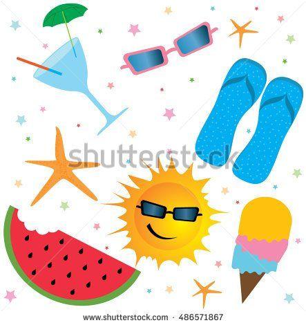 Summer objects. Cocktail, glasses, slippers, sun, icecream, watermelon, sea stars.