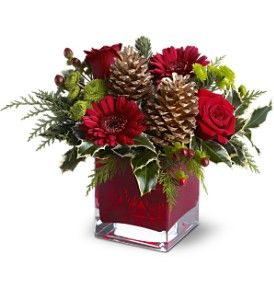 Christmas  arrangement ideas - gerbs, colored container, pinecones, red roses, holly, cedar, noble, pine, berries, a little wild, mini ornaments, plus tartan ribbon