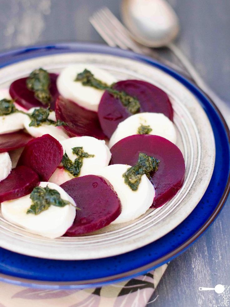 Beetroot and Basil Pesto Insalata Caprese - http://wholesome-cook.com/2012/05/21/beetroot-and-basil-pesto-insalata-caprese/