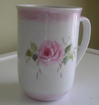 Hand Painted Porcelain Mug Pink Roses | MarilynKelleyArt - Ceramics & Pottery on ArtFire