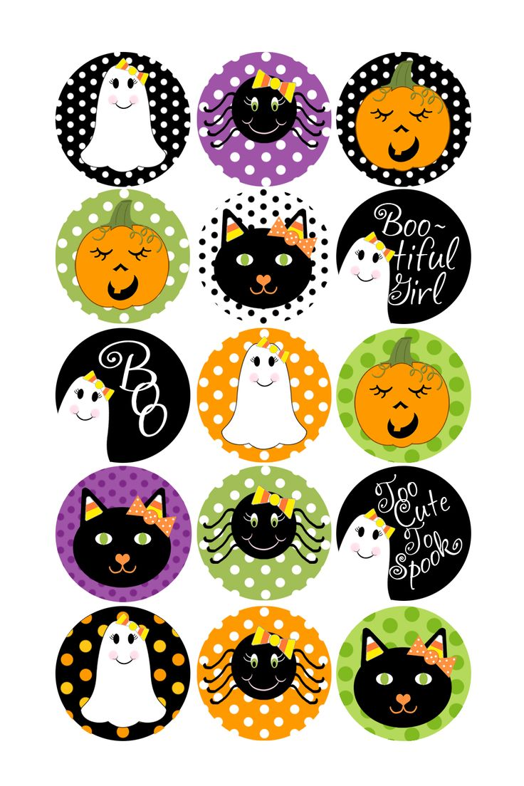 Halloween Bottle Caps | Holiday Bottle Caps Designs | Halloween- Polka Dots