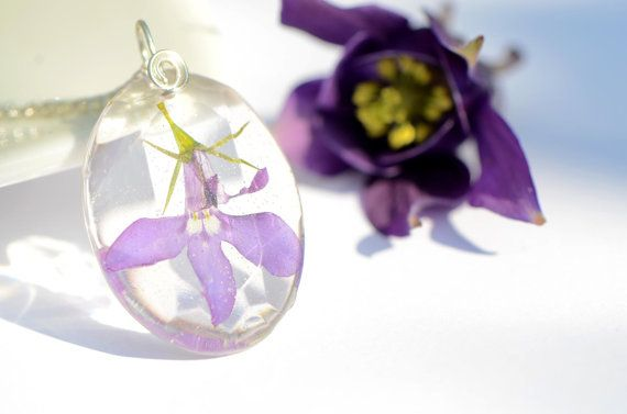 Real plant pendant pressed flower necklace mauve by OrioleStudio